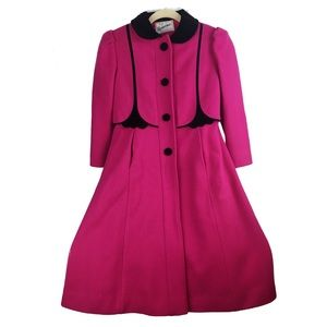 Antique 50s Magenta & Velvet Detailed Pleated Coat